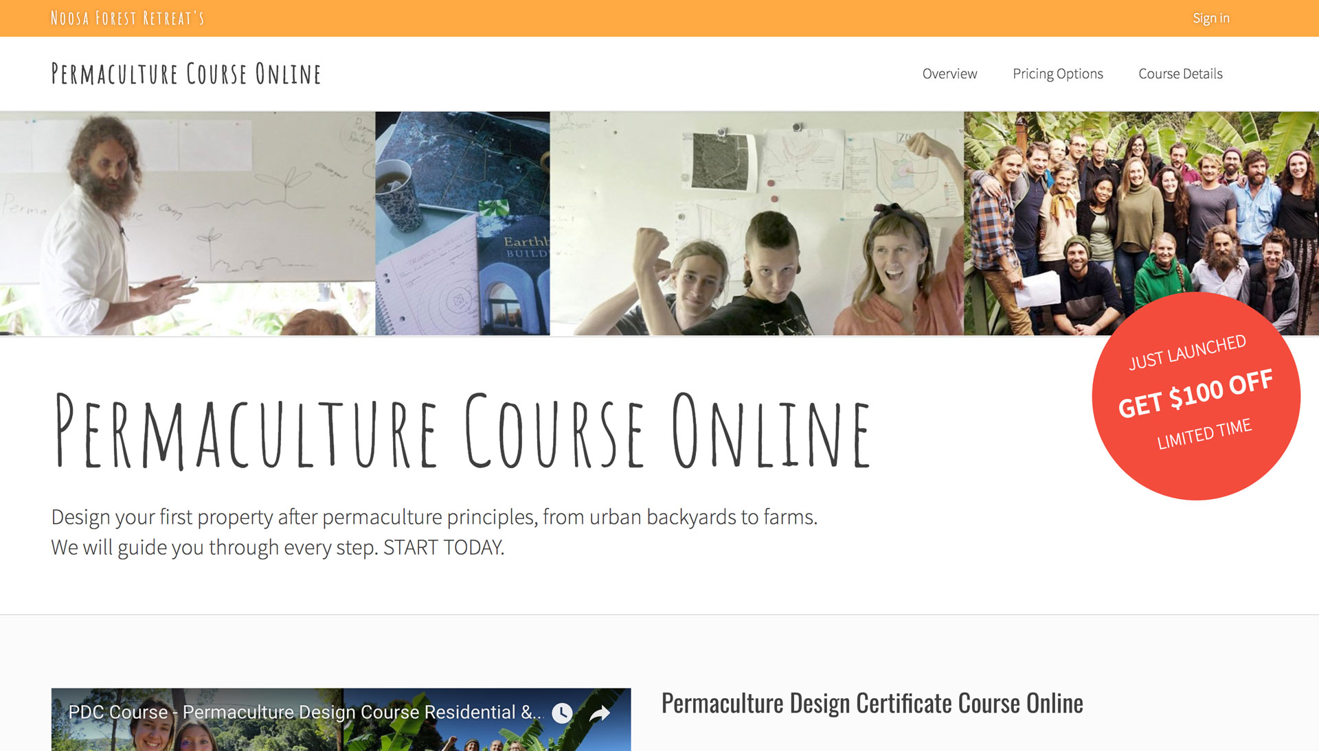 Permaculture Course Online - Homepage Screenshot